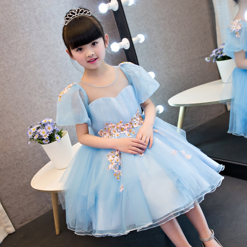 6a8d1d4d7 2017 New Korean Sweet Cute Baby Girls Blue Color Summer Princess Dress Kids  Wedding Birthday Party Pageant Embroideried Dress – fashionvariation