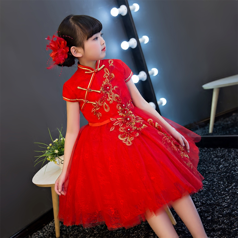 d9b273e5a 2017New Chinese Traditional Baby Girls Chi-Pao Cheongsam Red Dress New Year  Gift Children Clothes Kids Embroidery Party Dresses – fashionvariation