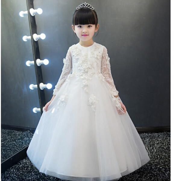 S Pageant Long Formal Dresses 2017 Sleeve Gauze Ball Gowns Flowers Princess Tutu Dress Kids Party Wedding Fashionvariation
